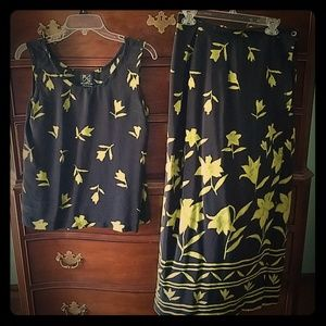 Black and green floral skirt and top